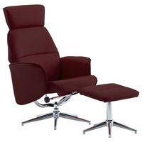 vidaXL lænestol med fodskammel kunstlæder vinrød