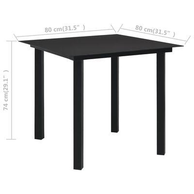 vidaXL udendørs spisebord 80x80x74 cm stål og glas sort
