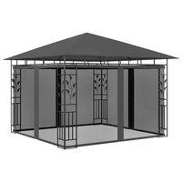 vidaXL pavillon med myggenet 3x3x,2,73 m 180 g/m² antracitgrå