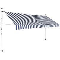 vidaXL foldemarkise manuel betjening 350 cm blå og hvid striber