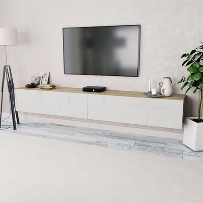 vidaXL tv-skabe 2 stk. spånplade 120 x 40 x 34 cm højglans hvid eg