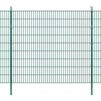 vidaXL 2D paneler og pæle til havehegn, 2.008x1.830 mm, 34 m, grønne