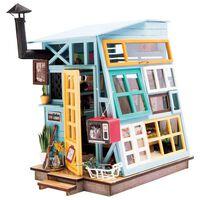 Robotime DIY-miniaturesæt Wooden Hut med LED-lys