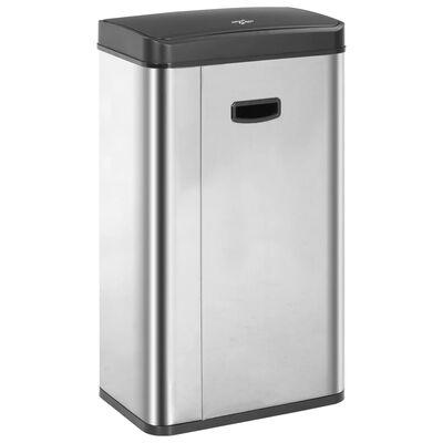 vidaXL affaldsspand med sensor sølvfarvet og sort rustfrit stål 70 l
