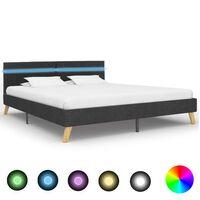 vidaXL sengestel med LED 180 x 200 cm stof mørkegrå