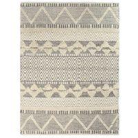 vidaXL gulvtæppe 80 x 150 cm håndvævet uld hvid/grå/sort/brun