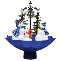 vidaXL juletræ med snefald paraplyfod 75 cm PVC blå
