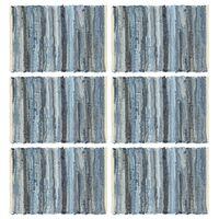 vidaXL dækkeservietter 6 stk. 30 x 45 cm bomuld chindi denimblå
