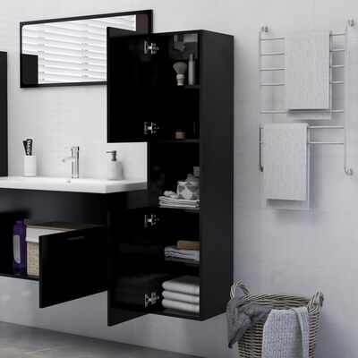 vidaXL badeværelsesskab 30x30x130 cm spånplade sort
