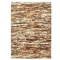 vidaXL gulvtæppe ægte læder med hår 160 x 230 cm brun/hvid