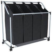 vidaXL vasketøjskurv med 4 poser sort grå