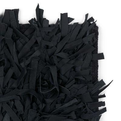 vidaXL shaggy tæppe ægte læder 120 x 170 cm sort