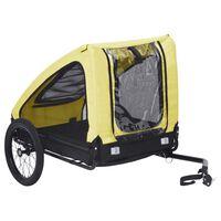 vidaXL cykelanhænger til kæledyr gul og sort