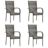 vidaXL stabelbare udendørsstole 4 stk. polyrattan grå