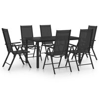 vidaXL spisebordssæt til haven 7 dele aluminium sort