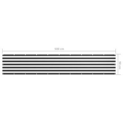 vidaXL altanafskærmning 90x500 cm oxfordstof antracitgrå og hvid
