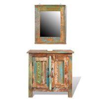 vidaXL badeværelsesskab med spejl genanvendt træ