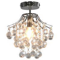 vidaXL loftlampe med krystalperler rund E14 sølvfarvet