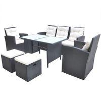 vidaXL udendørs spisebordssæt 6 dele med hynder polyrattan sort