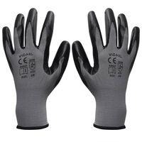 vidaXL nitrilhandsker str. 9/L grå og sort