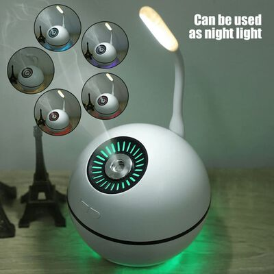 Kompakt Luftfugter med blæser og lampe - Hvid