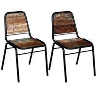 vidaXL spisebordsstole 2 stk. massivt genbrugstræ