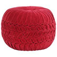 vidaXL puf bomuldsfløjl smock-design 40 x 30 cm rød