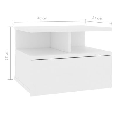 vidaXL svævende natbord 40 x 31 x 27 cm spånplade hvid