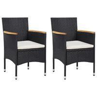 vidaXL spisebordsstole til haven 2 stk. polyrattan sort