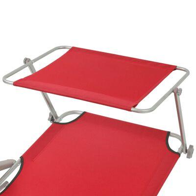 vidaXL liggestol med tag stål rød