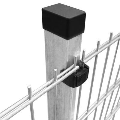 vidaXL 2D paneler og pæle til havehegn, 2.008x1.230 mm, 24 m, sølvgrå