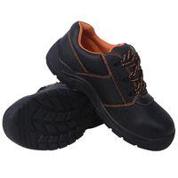 vidaXL sikkerhedssko, sorte, størrelse 46, læder