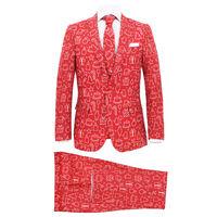 vidaXL jakkesæt i 2 dele med slips juledesign gaver str. 48 rød