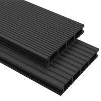 vidaXL WPC-terrassebrædder med tilbehør 35 m² 4 m antracitgrå
