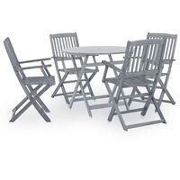 vidaXL spisebordssæt til haven 5 dele massivt akacietræ grå