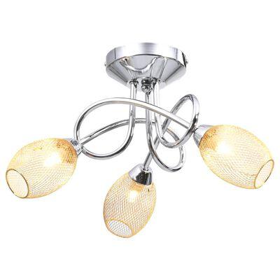 vidaXL loftlampe med forgyldte lampeskærme til 3 G9-pærer