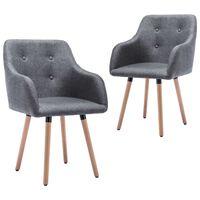 vidaXL spisebordsstole 2 stk. stof mørkegrå