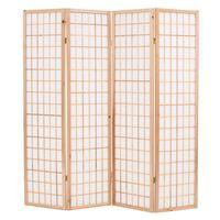 vidaXL foldbar 4-panels rumdeler japansk stil 160 x 170 cm naturfarvet