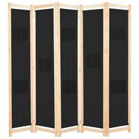 vidaXL 5-panels rumdeler 200 x 170 x 4 cm stof sort