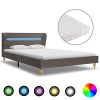 vidaXL seng med LED og madras 140 x 200 cm stof gråbrun