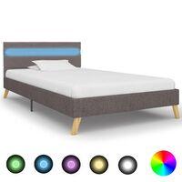 vidaXL sengestel med LED 90 x 200 cm stof lysegrå