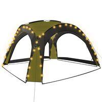 vidaXL festtelt med LED og 4 sidevægge 3,6x3,6x2,3 m grøn