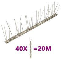vidaXL fuglepigge 5 rækker sæt af 40 stk. 20 m rustfrit stål