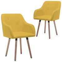 vidaXL spisebordsstole 2 stk. stof sennepsgul