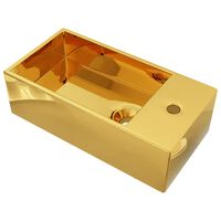 vidaXL håndvask med overløb 49 x 25 x 15 cm keramik guldfarvet