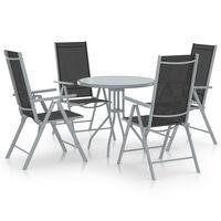 vidaXL spisebordssæt til haven 5 dele aluminium textilene sølvfarvet