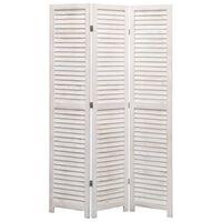 vidaXL 3-panels rumdeler 105 x 165 cm træ hvid