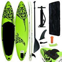 vidaXL oppusteligt paddleboardsæt 305x76x15 cm grøn