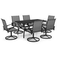 vidaXL spisebordssæt til haven 7 dele textilene og stål