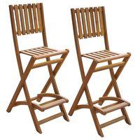 vidaXL foldbare udendørs barstole 2 stk. massivt akacietræ